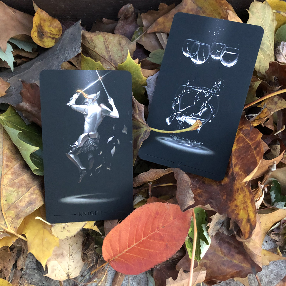 Leaf One - Knight of Swords and Five of Cups
