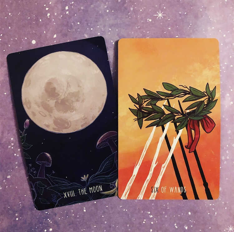 Pair Two: The Moon and Six of Wands