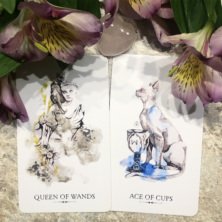 Middle: Queen of Wands and Ace of Cups from the Linestrider Tarot