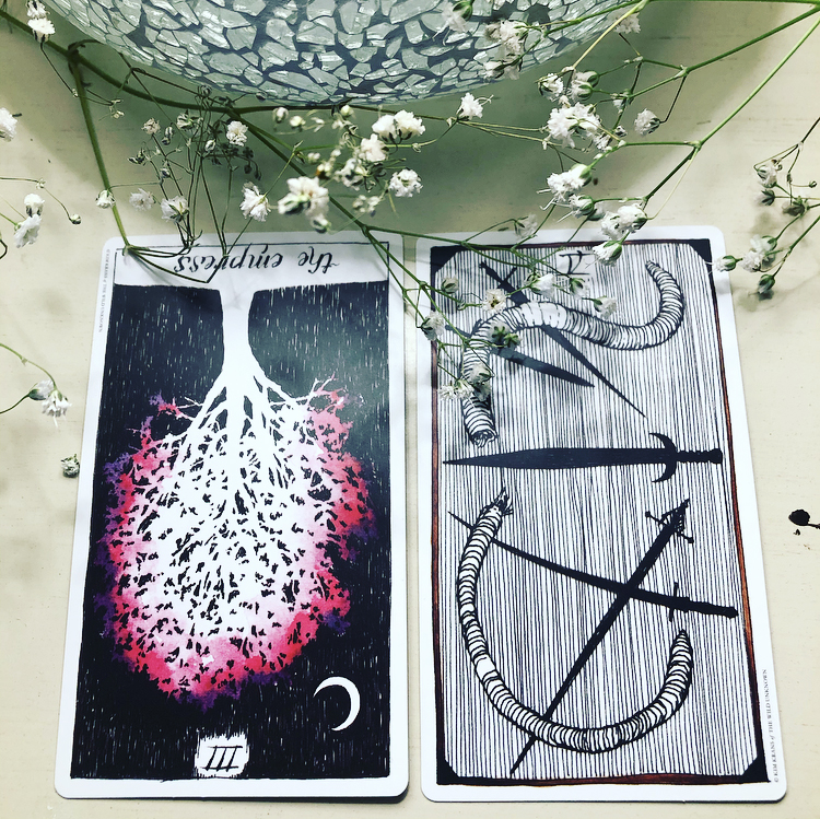 The Wild Unknown Tarot - The Empress and Four of Swords