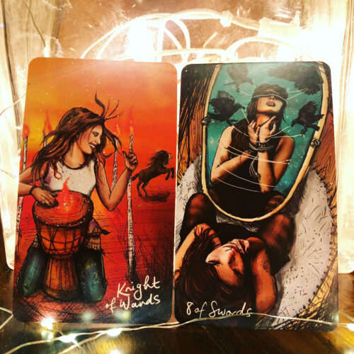 Knight of Wands & 8 of Swords